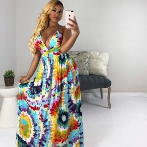 Dresses & Skirts - COMING SOON-Multicolor Open Back Summer Maxi Dress